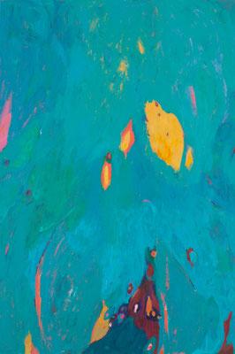 """Suns, Flares and Cosmic Dusts #2"" ,acrylic on canvas (36""x24""), 2014 (photo-Aaron Johanson"