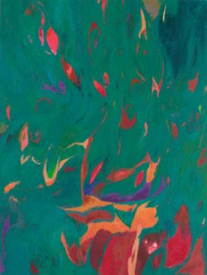 """""""Suns, Flares and Cosmic Dusts #4"""" ,acrylic on canvas (48""""x36""""), 2014, available $2,000 (photo - Aaron Johasnon)"""
