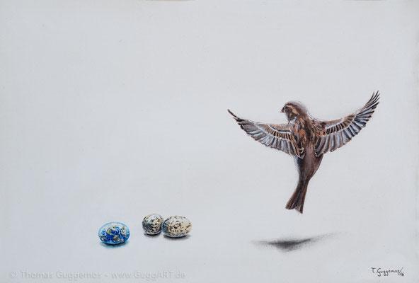Lebenszeichen - Acrylmalerei auf Leinwand 75x55cm (gerahmt) (acrylics on canvas), 2016