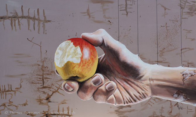 AUS DER HAND FRESSEN - Acrylmalerei auf Holz 100x60cm (acrylics on board), 2010
