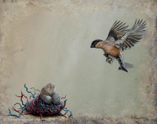 Das Kuckucksnest - Acrylmalerei auf Holz 40x50cm (acrylics on board), 2018