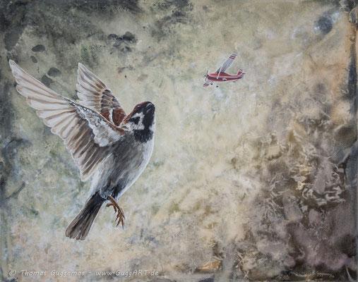 FEDERN LASSEN - Acrylmalerei auf Leinwand 100x80cm (acrylics on canvas), 2014