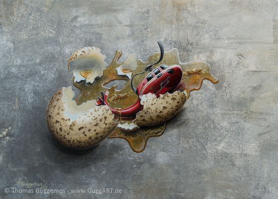 Embryo - Acrylmalerei auf Leinwand 50x70cm (acrylics on canvas), 2018