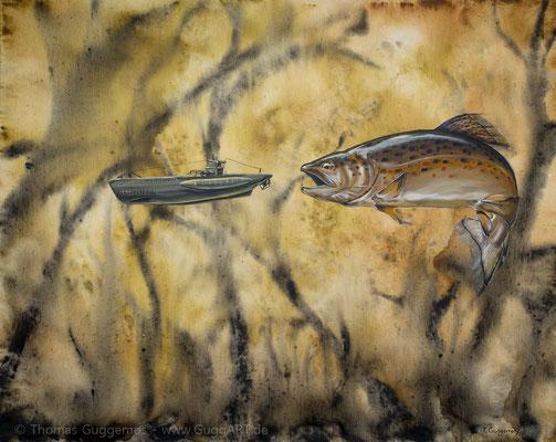 Tauchgangverlängerung - Acrylmalerei auf Leinwand 100x80cm (acrylics on canvas), 2016
