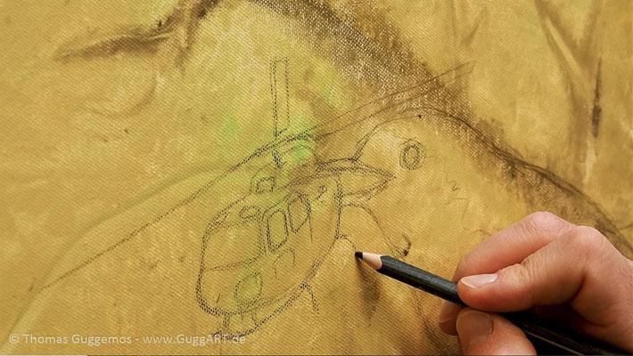 Mit einem Stift wird die Skizze aufgemalt