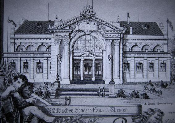 alte Postkarte des Konzerthauses - Quelle: Stadtarchiv Ravensburg