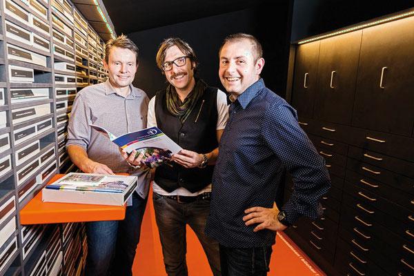 Foto: D-Werk, die drei D-Werker, Ulrich J. Jassniger, Stefan Kämmerle und Tom Maier (v.l.n.r) im neuen Archiv