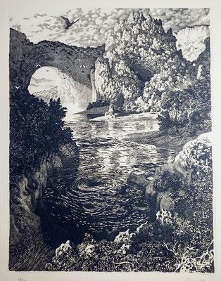 1979.  La sphinge, eau-forte, 58 x 45 au TC.
