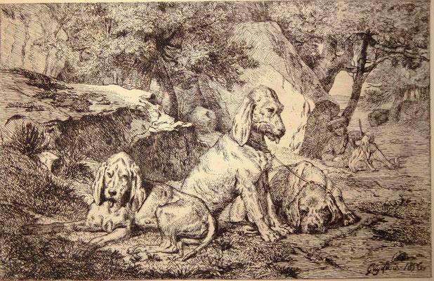 Guy, les chiens au repos et le chasseur, 1856