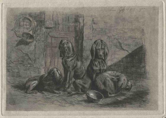 Guy, les chiens assis, 1853, 14x20