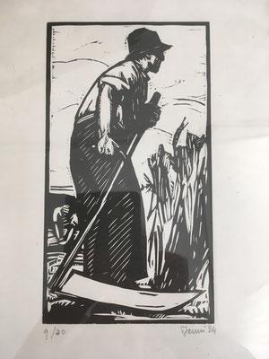 Janin, Le faucheur, bois, 1924.