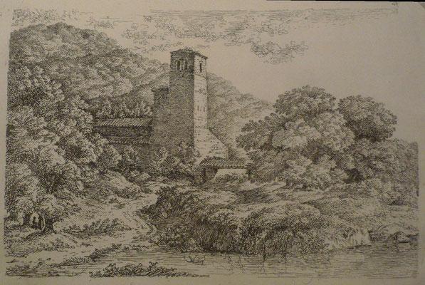 4. Eglise au clocher carré, 1er état, 185 x 122 (cuivre  213 x 136).