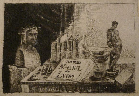3. Nature morte, dédicace, Charles Michel de Lyon, 1er état, 57 x 83  (cuivre 80 x 105).