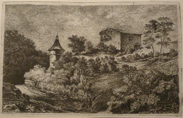 2. Le pigeonnier, 2ème état, 95 x 152, (cuivre 100 x 157).