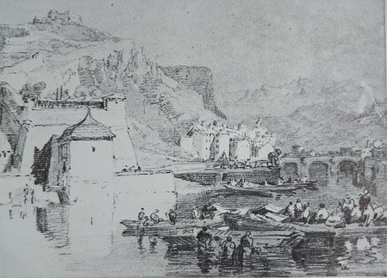 Turner, Grenoble, carnet de croquis, 1802, crayon, craie et gouache blanche, sur papier gris, 21,4 x 28