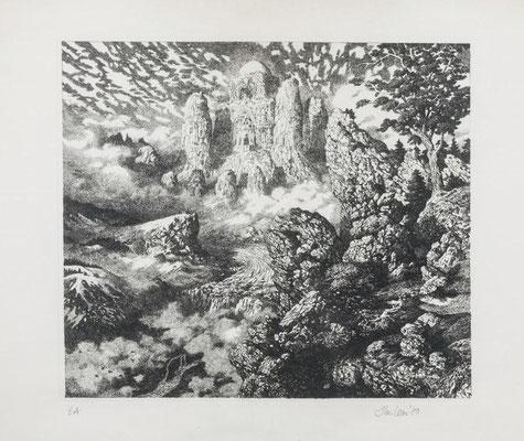 1980.  Paysage avec des ruines, eau-forte.