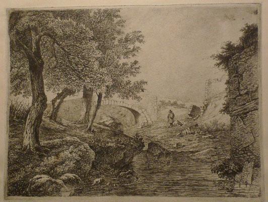 11. Le pont de pierre et l'homme au chien, 1er état, 163 x  217 (cuivre 169 x 222).
