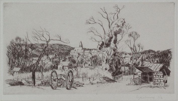 Chantier du bucheron à Bièvre, 17 x 32.