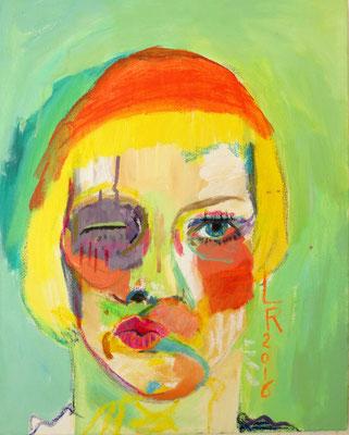 """Aus der Serie """"WAS GEHT AB?"""", 2016, Acryl und Ölkreide auf Leinwand, 40 x 50 cm"""
