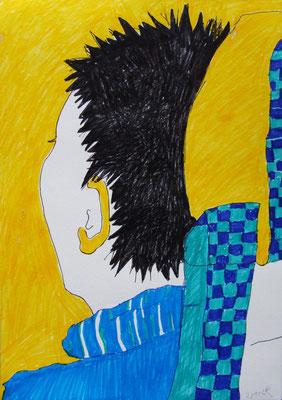SUNSHINE MIND VS. KLEINKARIERT, 2011, Filzstift auf Papier, 21 x 27 cm