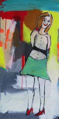 ICH SEHE WAS, WAS DU NICHT SIEHST, 2014, Acryl auf Leinwand, 40 x 80 cm