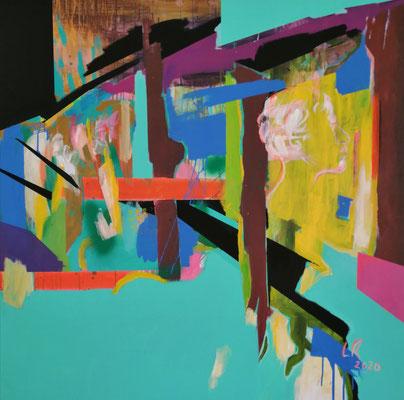 TRYING TO VISUALIZE MY DREAMS, 2020, Acryl und Ölkreide auf Leinwand, 120 x 120 cm