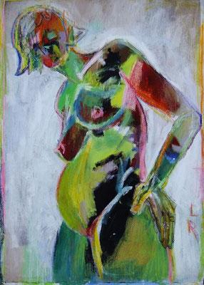 O.T., 2010, Acryl & Ölkreide auf Packpapier, 90 x 110 cm