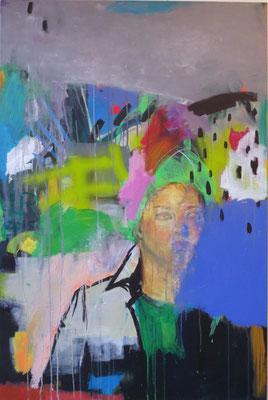 O.T., 2014/15, Acryl und Ölpastell auf Leinwand, 80 x 120 cm
