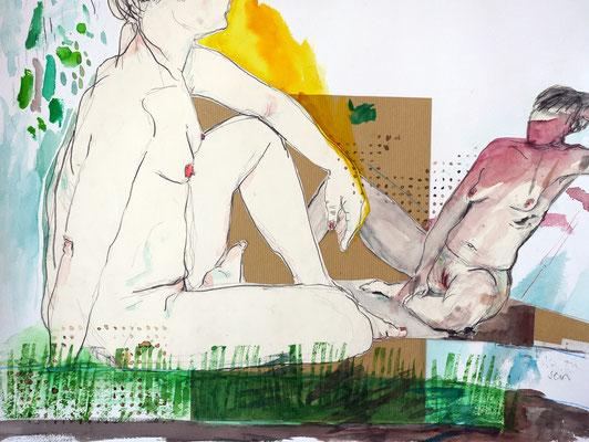 ZWEI ARTEN ZU SEIN Aquarell, Rotwein, Buntstift, Bleistift auf Papier 50 x 65 cm
