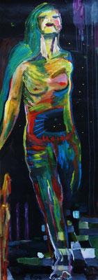IN DIE WELT HINEIN, 2010, Acryl auf Papier, 65 x 195 cm