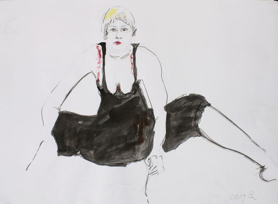 SELBSTPORTRAIT, 2009, Bleistift & Aquarell auf Papier, 45 x 38 cm