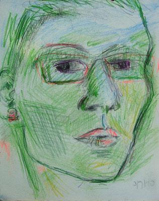 SELBSTPORTRAIT, 2010, Bleistift & Buntstift auf Papier, 18 x 24 cm