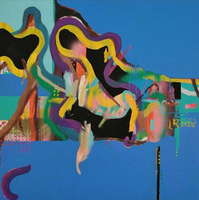 WHEN ENERGY FLOWS THROUGH MY MIND AND MY GUTS, 2020, Acryl und Ölkreide auf Leinwand, 120 x 120 cm
