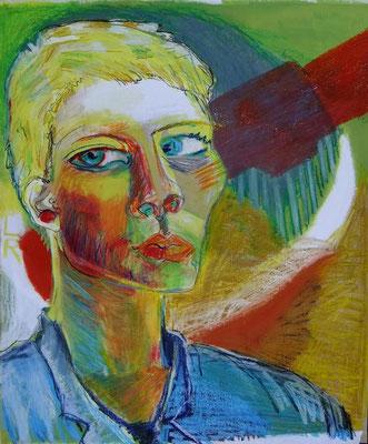 SELBSTPORTRAIT, 2010, Acryl & Ölkreide auf Packpapier, 80 x 100 cm