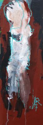 O.T., 2017, Acryl, Pigment & Ölkreide auf Leinwand, 30x90 cm