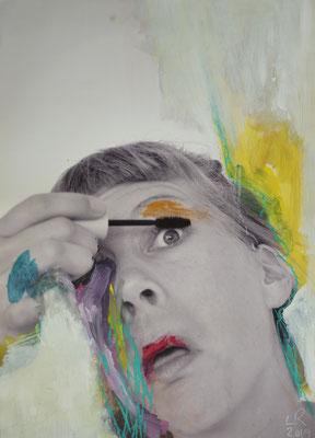 ICH SELBST IM PORTRÄT (Serie), 2019, Acrylfarbe und Ölkreide auf Fotoprint, 55 x 80 cm