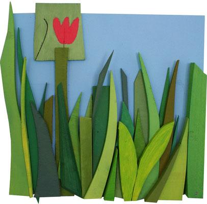 DIE ERSTE TULPE BLÜHT, 2012, Acryl auf Holz, ca. 32 x 30 cm