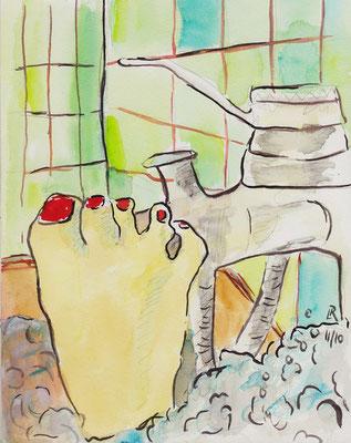 O.T., 2010, Bleistift & Aquarell auf Papier, 18 x 24