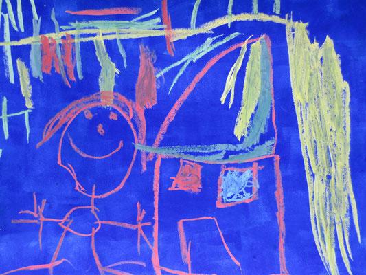 Ich und mein Zuhause. Zuckerkreide auf blauem Gouache-Hintergrund. (Ästhetische Früherziehung)