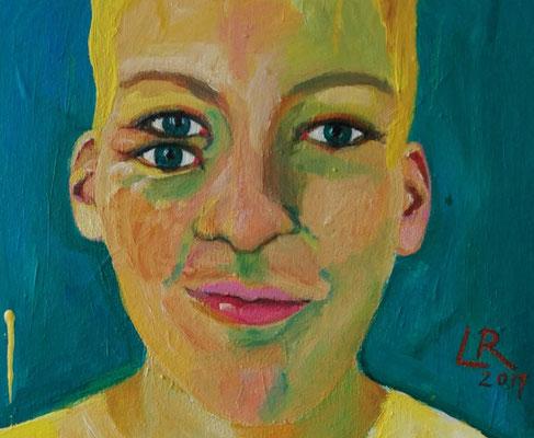 """Detail, Bild aus der Serie """"WAS GEHT AB?"""", 2017, Acryl und Ölkreide auf Leinwand, 40 x 50 cm"""