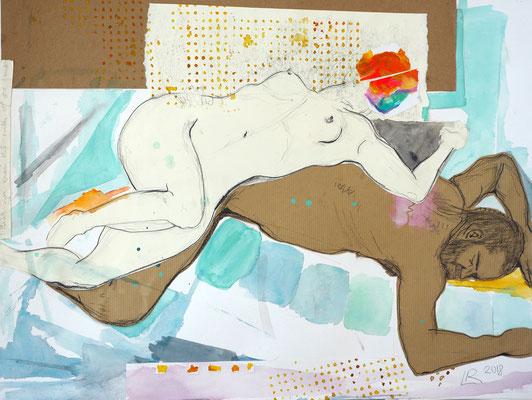 HIER UND JETZT UND AUCH WO ANDERS? Aquarell, Buntstift, Bleistift auf Papier 50 x 65 cm