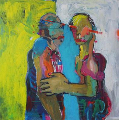 DU UND ICH, 2015, Acryl und Ölkreide auf Leinwand, 100 x 100 cm