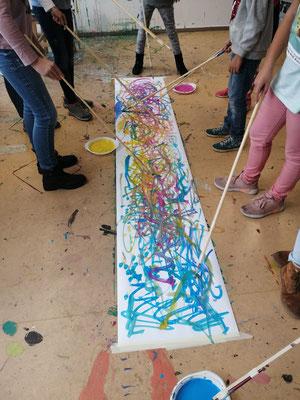 """""""Pinseltanz"""" während eines Kurses in meinem Atelier."""