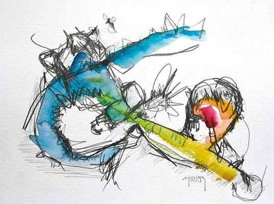 O.T., 2009, Bleistift & Aquarell auf Papier,  18 x 24 cm