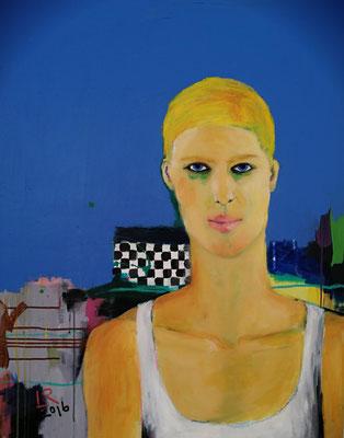 UNTER DEM REGENBOGEN, 2016, Acryl und Ölkreide auf Leinwand, 80 x 100 cm