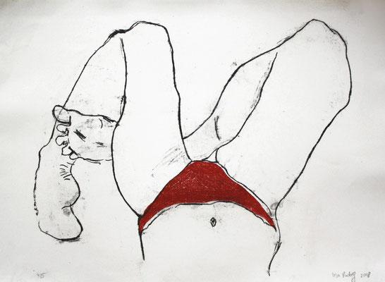 O.T., 2008, zweifarbige Lithografie auf Büttenpapier, 48 x 55 cm