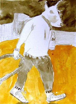 BÜRDE, 2010, Bleistift & Aquarell auf Papier, 14,5 x 21 cm