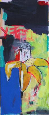 LOOKS LIKE BASQUIAT'S BANANA, Acryl und Ölkreide auf Leinwand,  2014, 30x70 cm