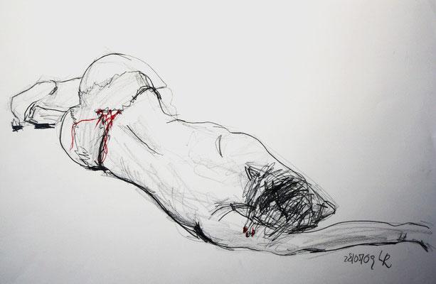 O.T., 2009, Bleistift & Buntstift auf Papier, 42 x 59 cm