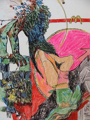 AUSGEKOTZT, 2010, Ballpen, Buntstift auf Papier, 18 x 24 cm